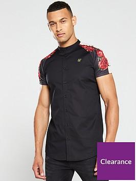 sik-silk-raglan-back-panel-shirt-black