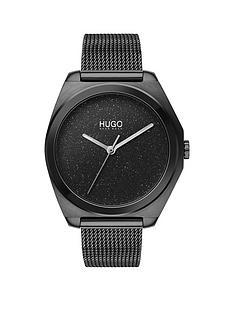 hugo-hugo-imagine-textured-black-glitter-dial-black-ip-stainless-steel-mesh-strap-ladies-watch