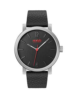 HUGO Hugo Rase Black And Red Detail Dial Black Leather Strap Mens Watch Picture
