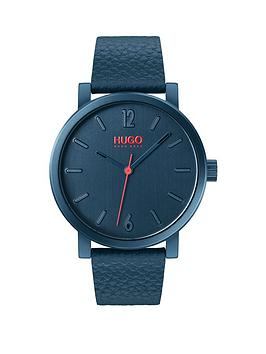 HUGO Hugo Hugo Rase Brushed Blue And Red Detail Dial Blue Leather Strap  ... Picture