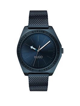 hugo-hugo-act-blue-dial-blue-ip-stainless-steel-mesh-strap-mens-watch