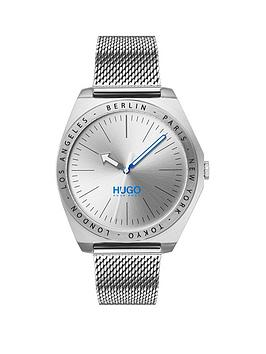 hugo-hugo-act-silver-sunray-and-blue-detail-dial-stainless-steel-mesh-strap-mens-watch