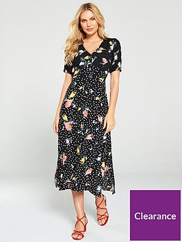 oasis-floral-spot-button-through-midi-dress--nbspmultiblack
