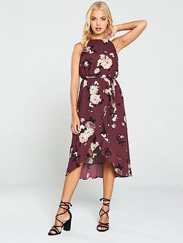 oasis-large-rose-midi-dress-berry