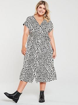 Oasis Curve Oasis Curve Shattered Heart Roll Sleeve Button Through Midi  ... Picture