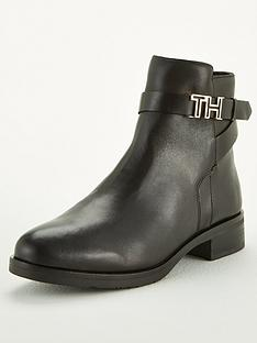 tommy-hilfiger-leather-flat-boots-black