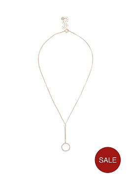 river-island-river-island-diamante-circle-drop-necklace-rose-gold