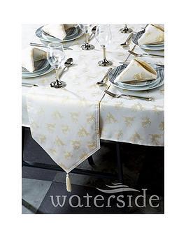 Product photograph showing Waterside Reindeer Jacquard Chrsitmas Table Linen Set