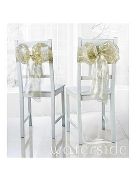 WATERSIDE Waterside Pack Of 6 Metallic Organza Chair Bows &Ndash; Gold Picture