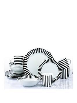 WATERSIDE Waterside Black Stripe 16-Piece Dinner Set Picture