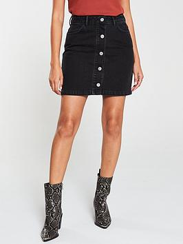 V by Very V By Very Button Front A Line Mini Skirt - Washed Black Picture