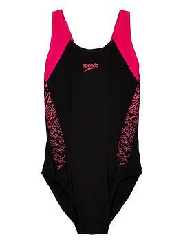Speedo Speedo Boom Splice Muscleback Swimsuit - Black/Pink Picture