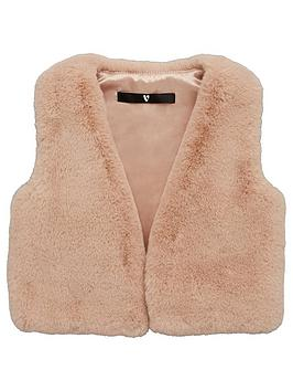 V by Very V By Very Girls Faux Fur Gilet - Pink Picture