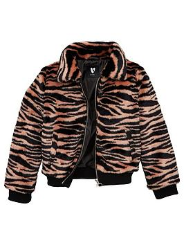 V By Very Girls Zebra Faux Fur Coat - Pink