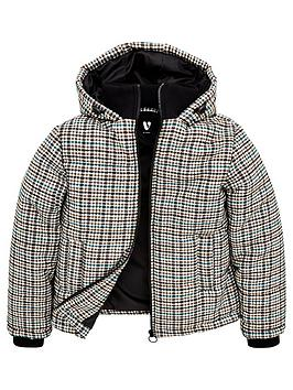 V by Very V By Very Boys Padded Checked Jacket - Grey Picture