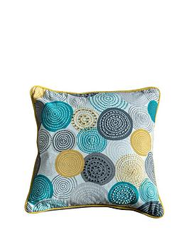 Gallery Gallery Lagom Orb Printed Circles Cushion - Teal And Ochre Picture