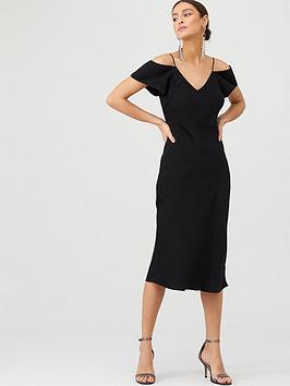 V by Very V By Very Cold Shoulder Slip Dress - Black Picture