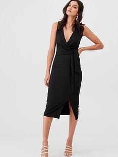 v-by-very-knot-front-stretch-bodycon-dress-black