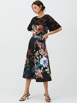 V by Very V By Very Lace Trim Scuba Prom Dress - Print