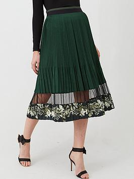 Ted Baker Ted Baker Boniiee Mesh Panel Pleated Midi Skirt - Khaki Picture
