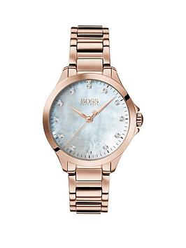 Boss Boss Boss White Dial With 13 Diamonds And Carnation Gold Stainless  ... Picture