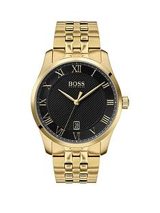 boss-boss-master-black-textured-and-gold-detail-date-dial-gold-stainless-steel-bracelet-mens-watch