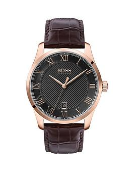 Boss Boss Boss Master Grey Textured And Rose Gold Detail Date Dial Brown  ... Picture