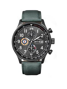 avi-8-avi-8-hawker-hunter-green-chronograph-dial-green-leather-strap-mens-watch