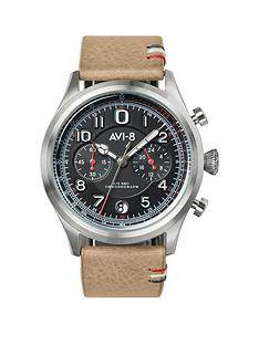 avi-8-avi-8-flyboy-lafayette-black-chronograph-dial-brown-leather-strap-mens-watch