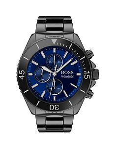 boss-boss-ocean-edition-blue-sunray-chronograph-dial-black-ip-stainless-steel-bracelet-mens-watch