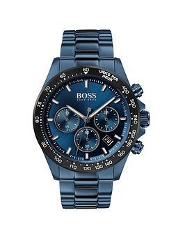 Boss   Hero Sport Lux Blue Sunray Chronograph Dial Blue Ip Stainless Steel Bracelet Mens Watch