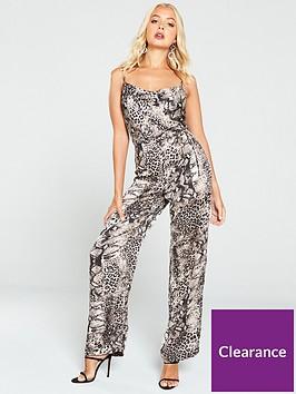 ax-paris-snake-print-cowl-neck-jumpsuit-multi