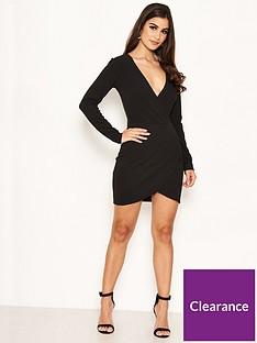 ax-paris-petite-ax-paris-petite-black-long-sleeve-wrap-over-dress