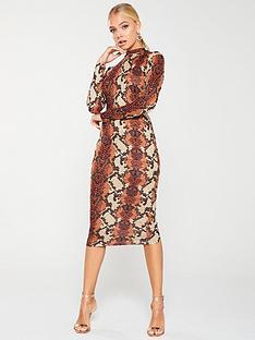 ax-paris-snake-print-midi-dress-rust