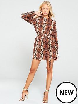 ax-paris-snake-print-day-dress-rust