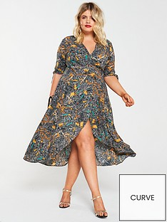 ax-paris-curve-chain-print-wrap-dress-multi