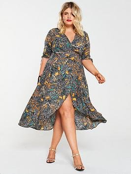 AX PARIS CURVE Ax Paris Curve Chain Print Wrap Dress - Multi Picture