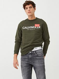 calvin-klein-reverse-text-logo-sweatshirt-dark-olive
