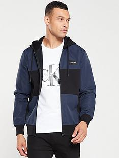 calvin-klein-mixed-media-zip-through-jacket-navy-blue