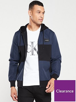 calvin-klein-mixed-media-zip-through-jacket-navy-blue