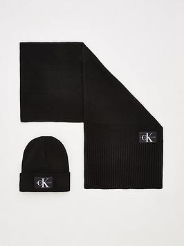 Calvin Klein Calvin Klein Knitted Scarf &Amp; Beanie Set - Black Picture