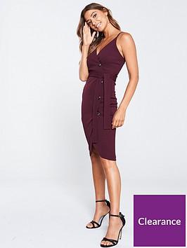 ax-paris-button-front-detail-dress-plum