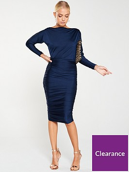 ax-paris-boat-neck-dress-with-ruched-detail-navy