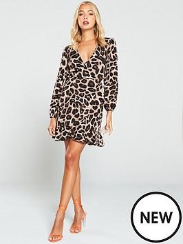 ax-paris-leopard-print-wrap-dress-brown