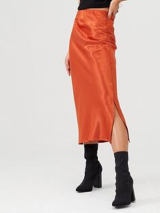 ax-paris-bias-cut-satin-midi-skirt-rust