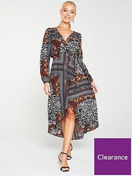ax-paris-printed-wrap-dress-multi