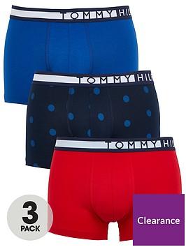 tommy-hilfiger-three-pack-of-printedplain-trunks-redbluenavy