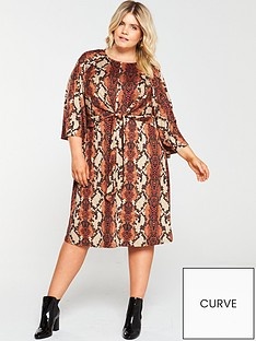 ax-paris-curve-twist-front-snake-print-dress-rust