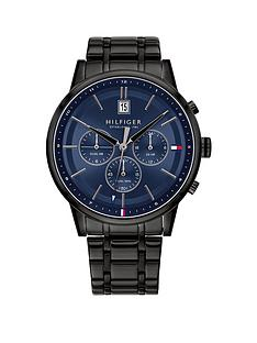 tommy-hilfiger-tommy-hilfiger-kyle-blue-sunray-chronograph-dial-black-ip-stainless-steel-bracelet-mens-watch