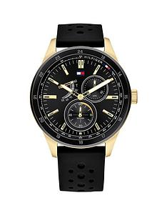 tommy-hilfiger-austin-black-and-gold-detail-multi-dial-black-silicone-strap-mens-watch